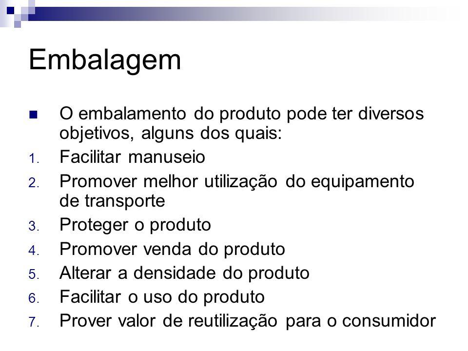 Embalagem O embalamento do produto pode ter diversos objetivos, alguns dos quais: Facilitar manuseio.