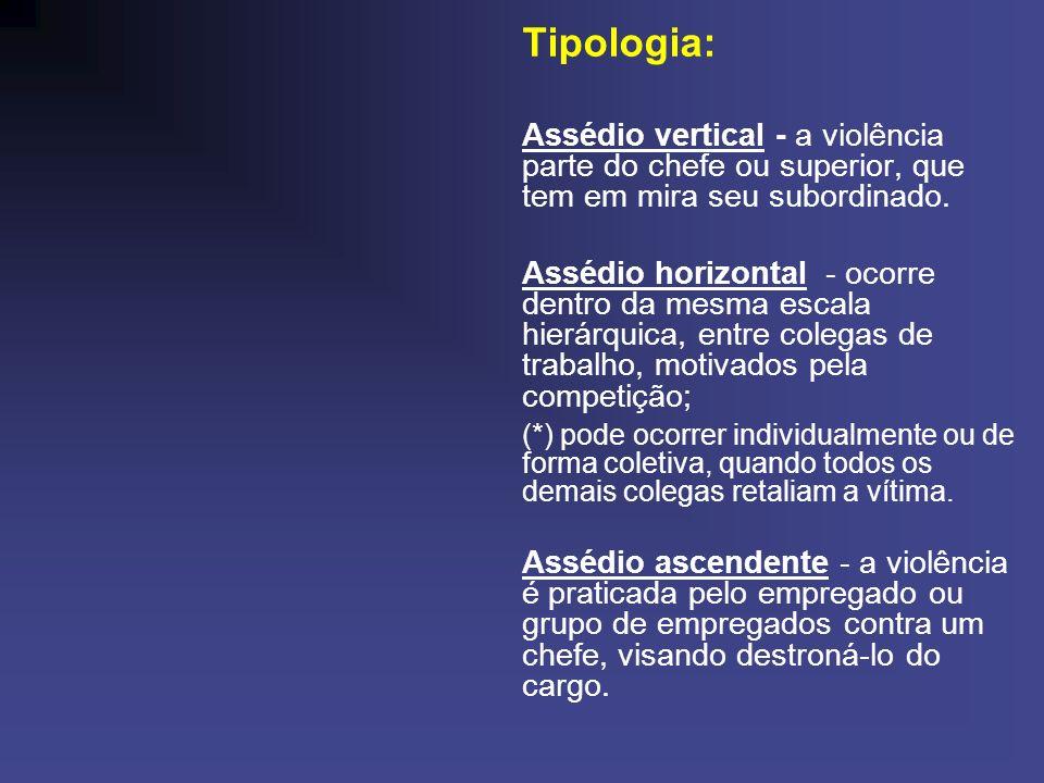 Tipologia:Assédio vertical - a violência parte do chefe ou superior, que tem em mira seu subordinado.