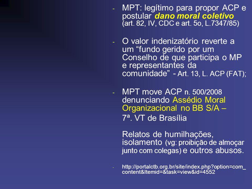MPT: legítimo para propor ACP e postular dano moral coletivo (art