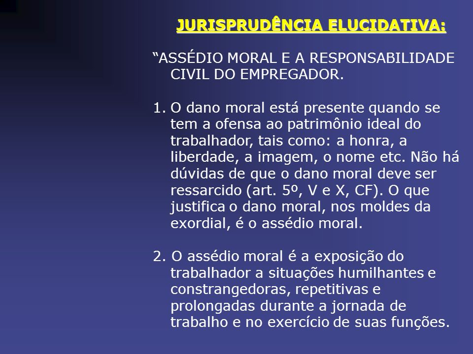 JURISPRUDÊNCIA ELUCIDATIVA: