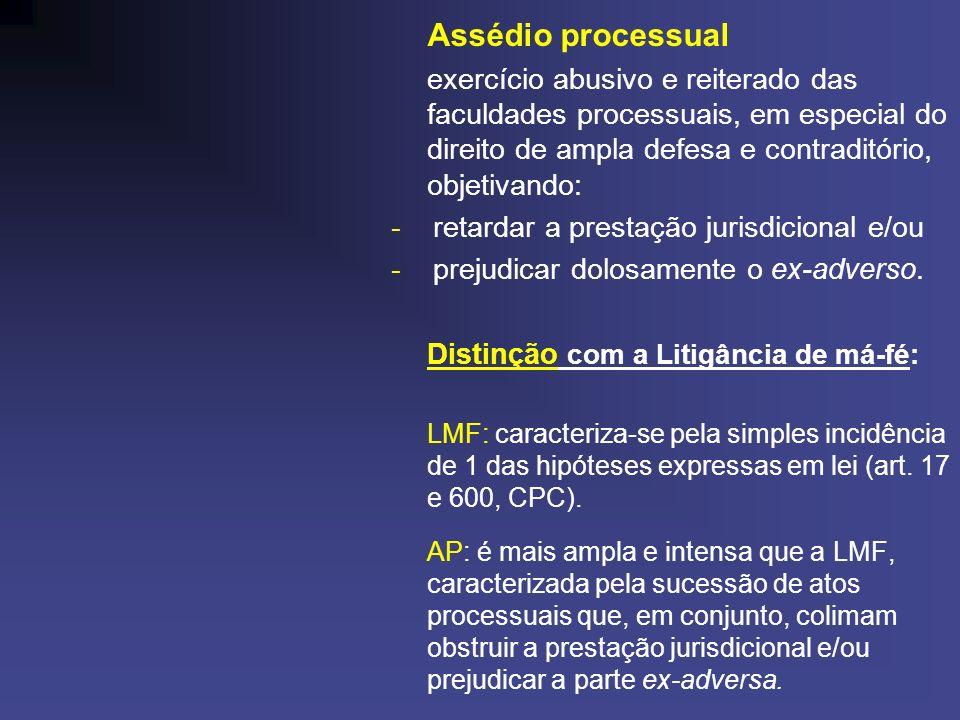 Assédio processual - retardar a prestação jurisdicional e/ou