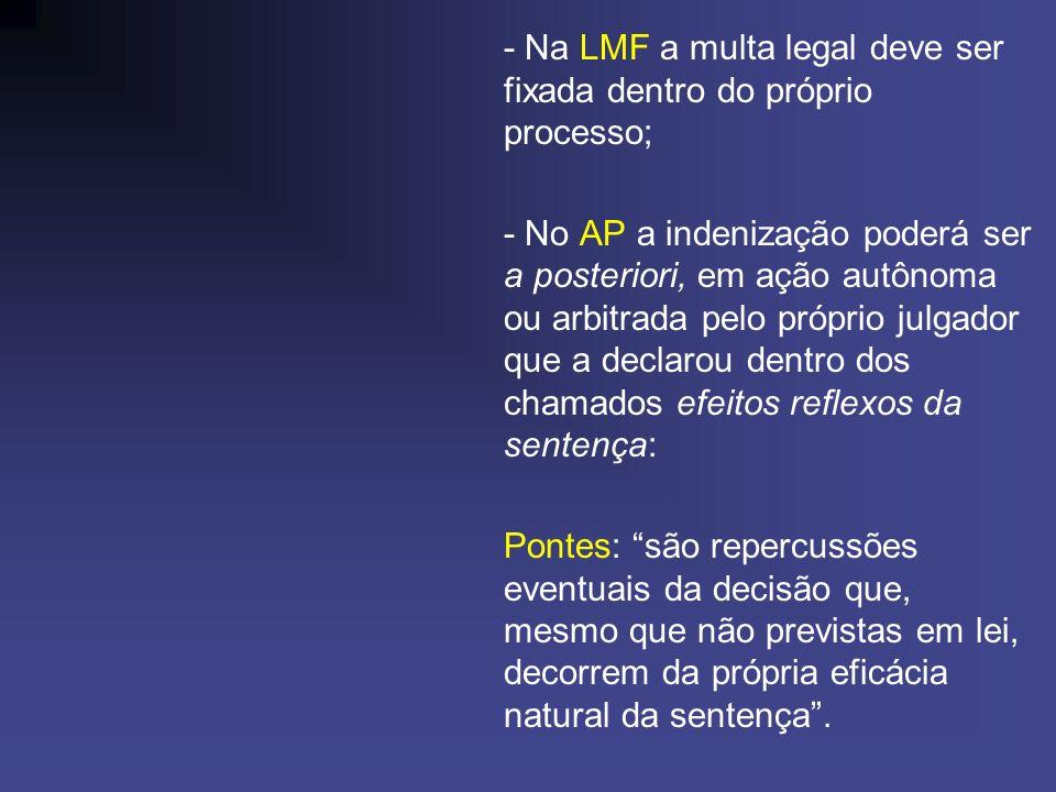 - Na LMF a multa legal deve ser fixada dentro do próprio processo;