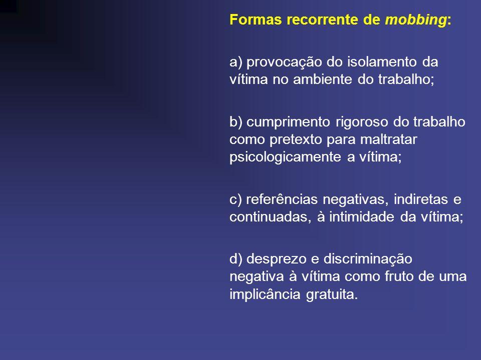Formas recorrente de mobbing: