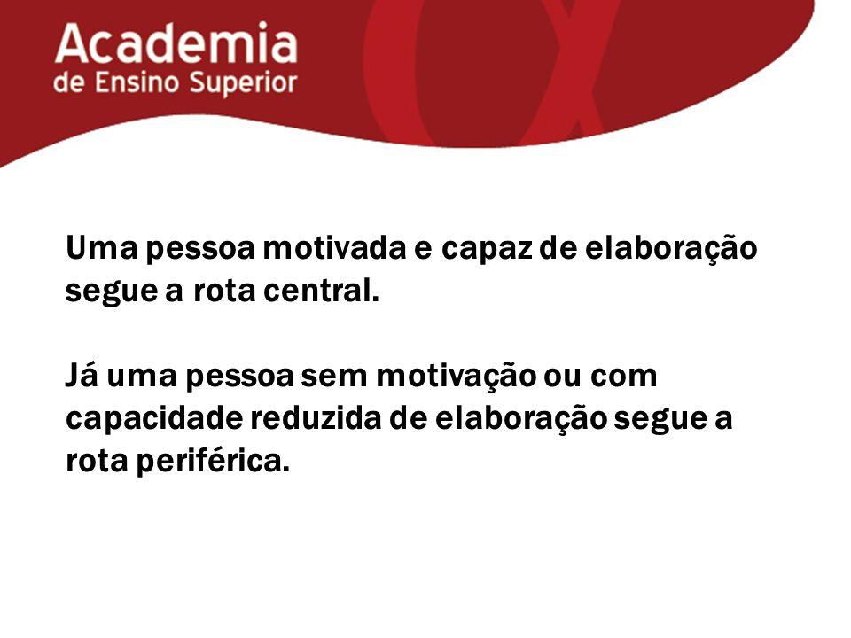 Uma pessoa motivada e capaz de elaboração segue a rota central.