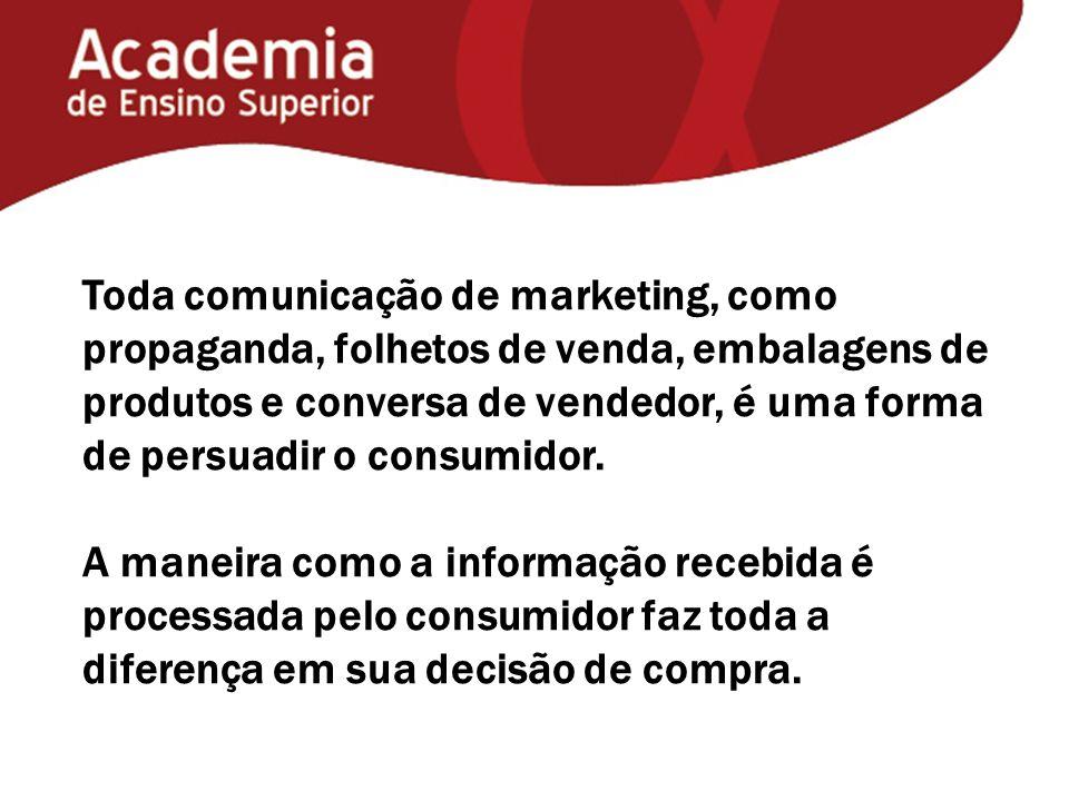 Toda comunicação de marketing, como propaganda, folhetos de venda, embalagens de produtos e conversa de vendedor, é uma forma de persuadir o consumidor.