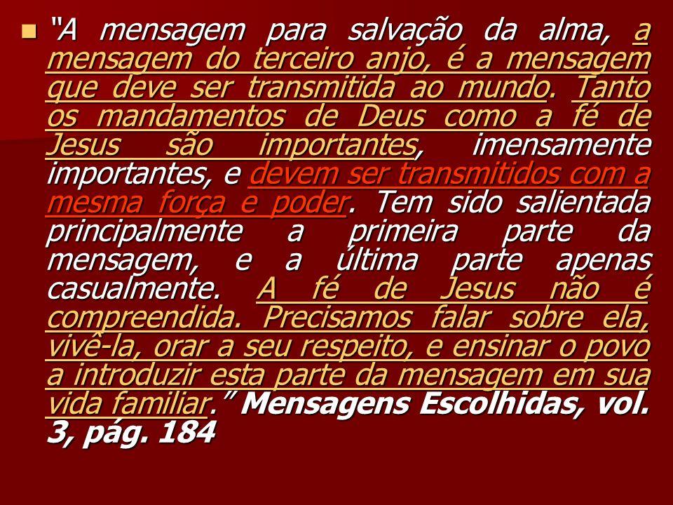 A mensagem para salvação da alma, a mensagem do terceiro anjo, é a mensagem que deve ser transmitida ao mundo.