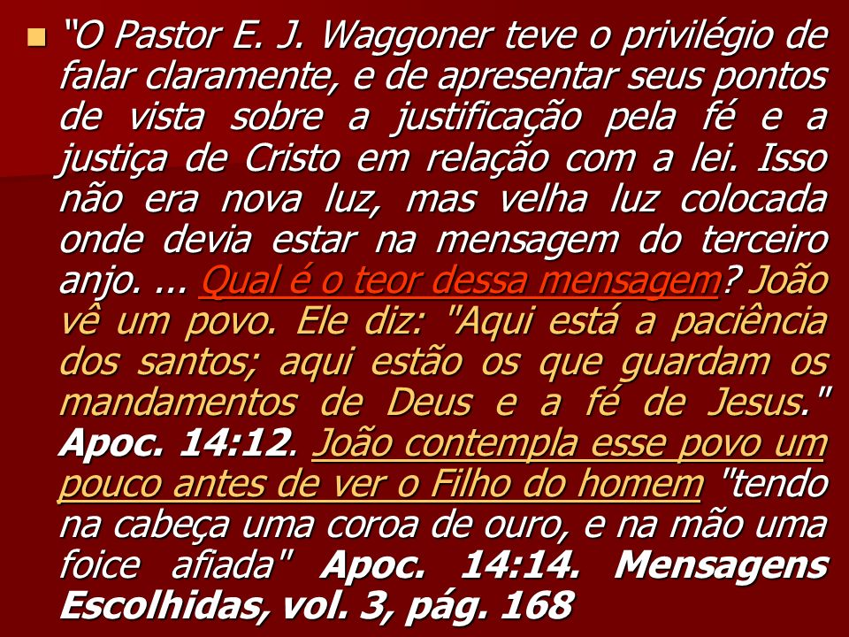 O Pastor E. J.