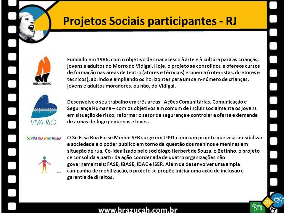 Projetos Sociais participantes - RJ
