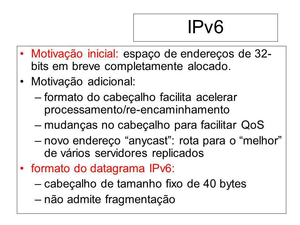 IPv6Motivação inicial: espaço de endereços de 32-bits em breve completamente alocado. Motivação adicional: