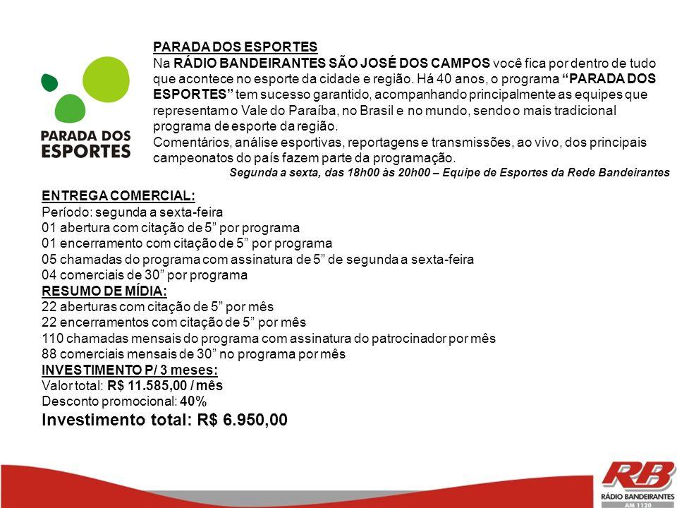 Investimento total: R$ 6.950,00