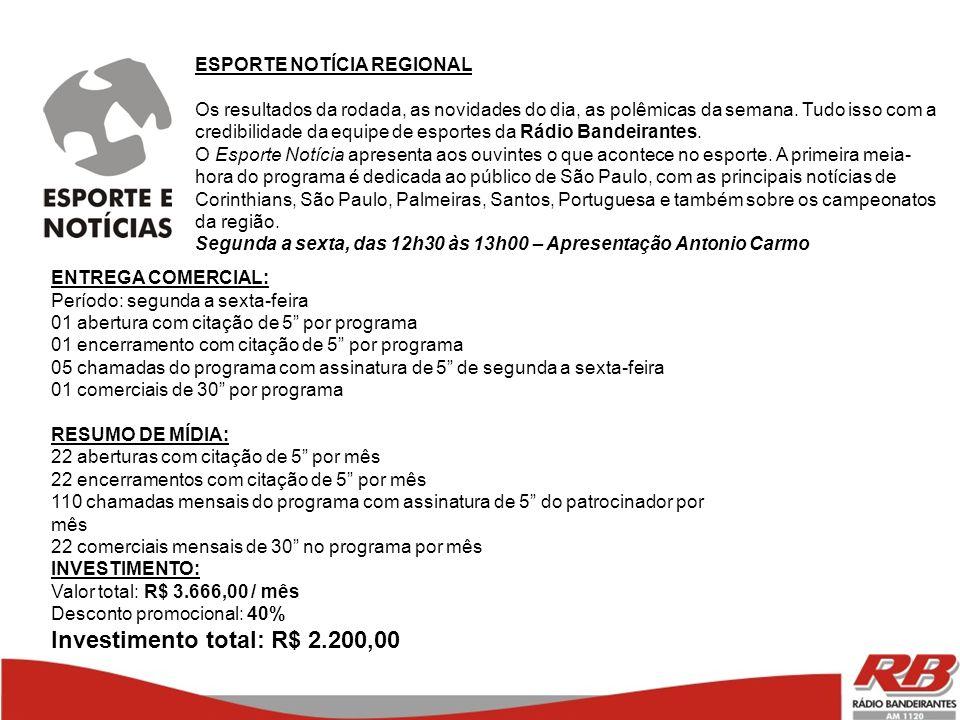 Investimento total: R$ 2.200,00