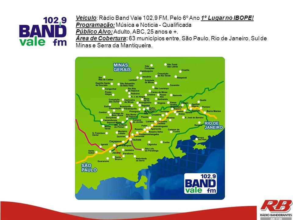 Veiculo: Rádio Band Vale 102,9 FM, Pelo 6º Ano 1º Lugar no IBOPE!