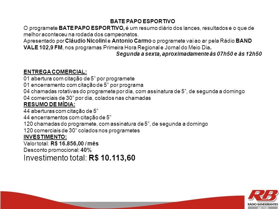 Investimento total: R$ 10.113,60