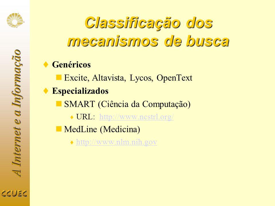 Classificação dos mecanismos de busca