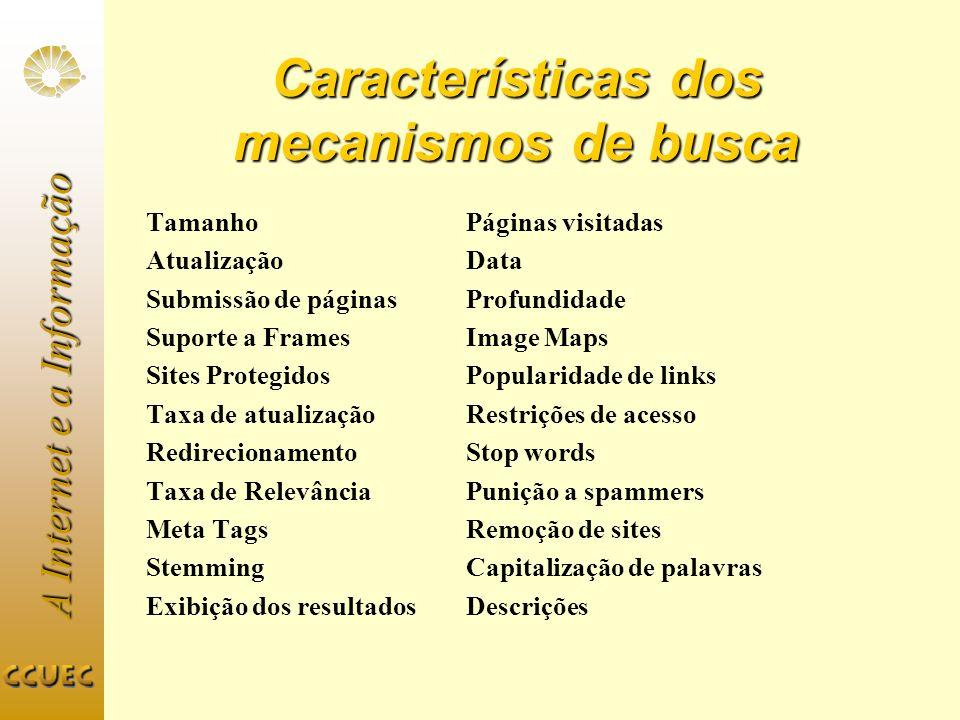 Características dos mecanismos de busca