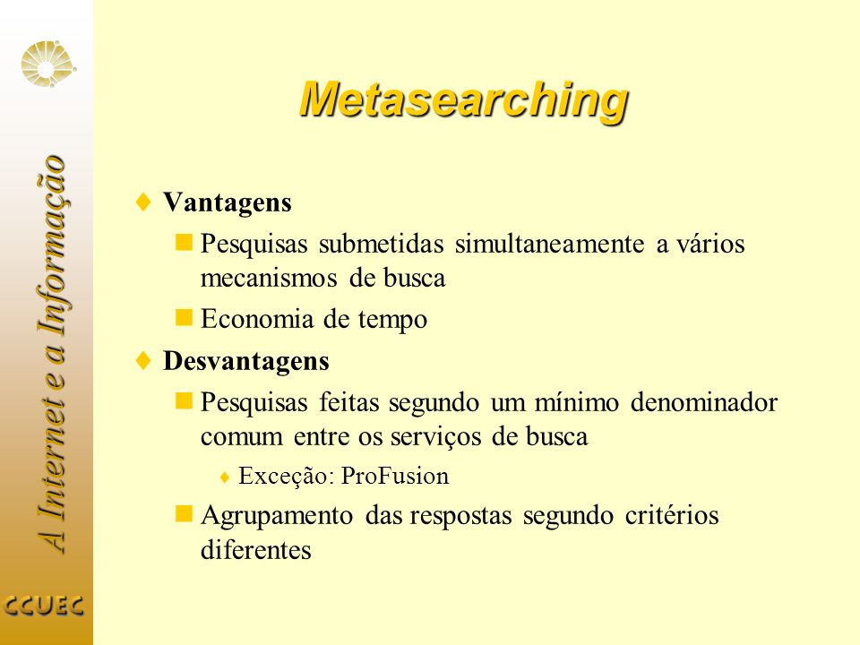 Metasearching Vantagens