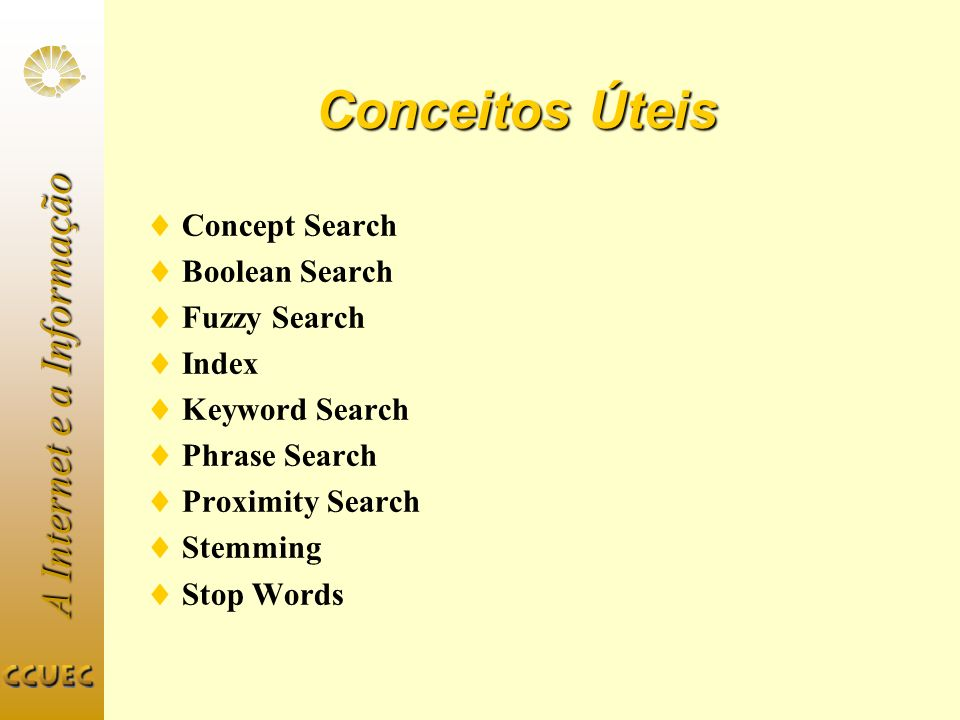 Conceitos Úteis Concept Search Boolean Search Fuzzy Search Index