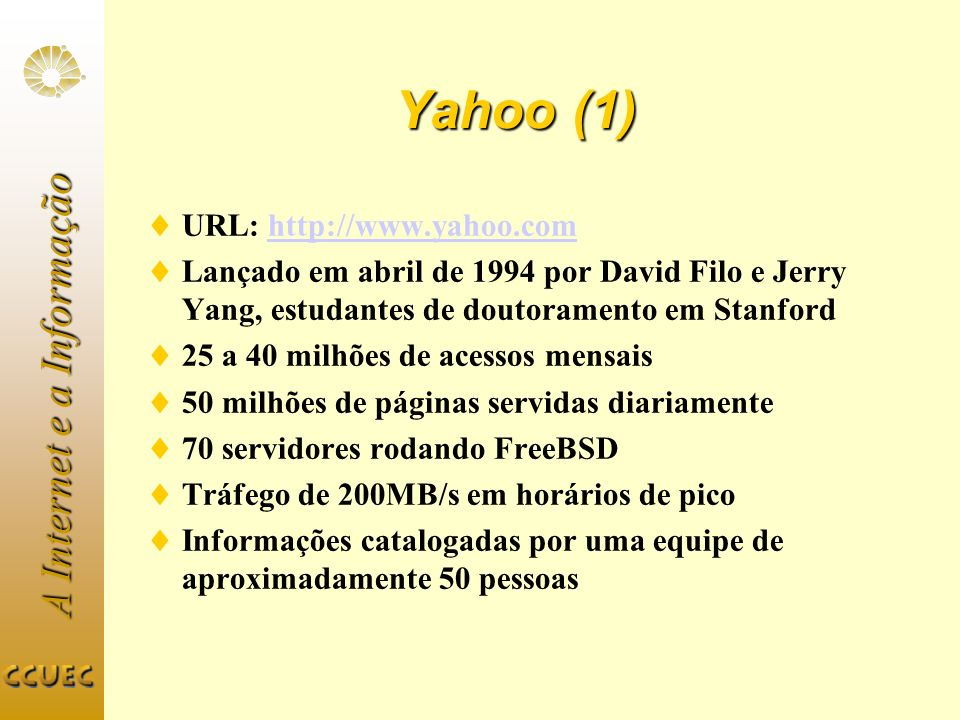 Yahoo (1) URL: http://www.yahoo.com