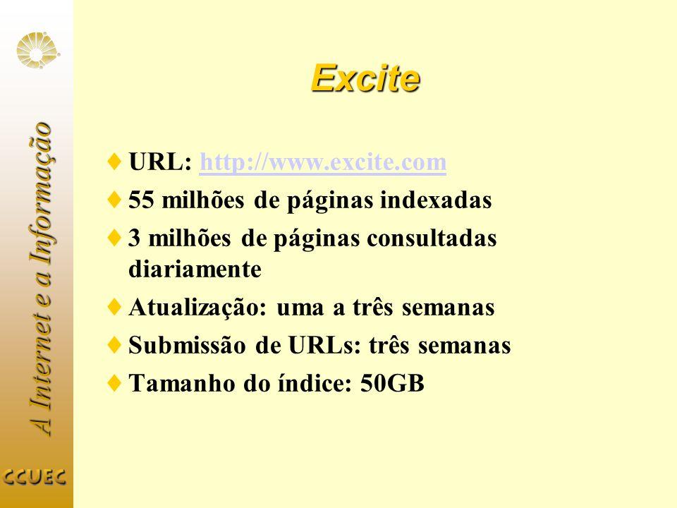 Excite URL: http://www.excite.com 55 milhões de páginas indexadas