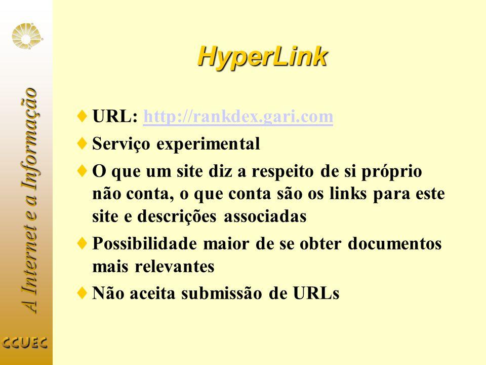 HyperLink URL: http://rankdex.gari.com Serviço experimental