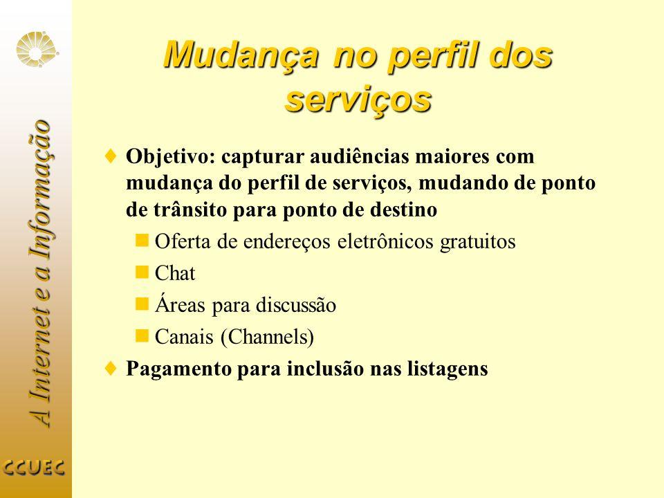 Mudança no perfil dos serviços