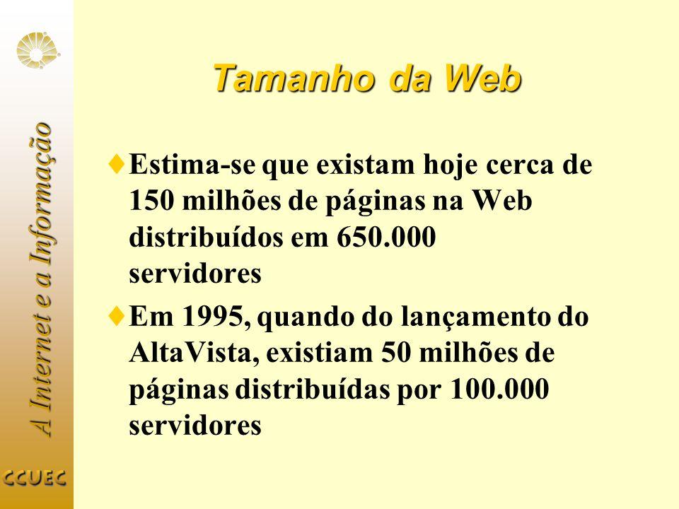 Tamanho da Web Estima-se que existam hoje cerca de 150 milhões de páginas na Web distribuídos em 650.000 servidores.