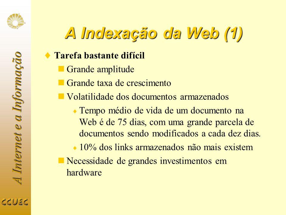 A Indexação da Web (1) Tarefa bastante difícil Grande amplitude
