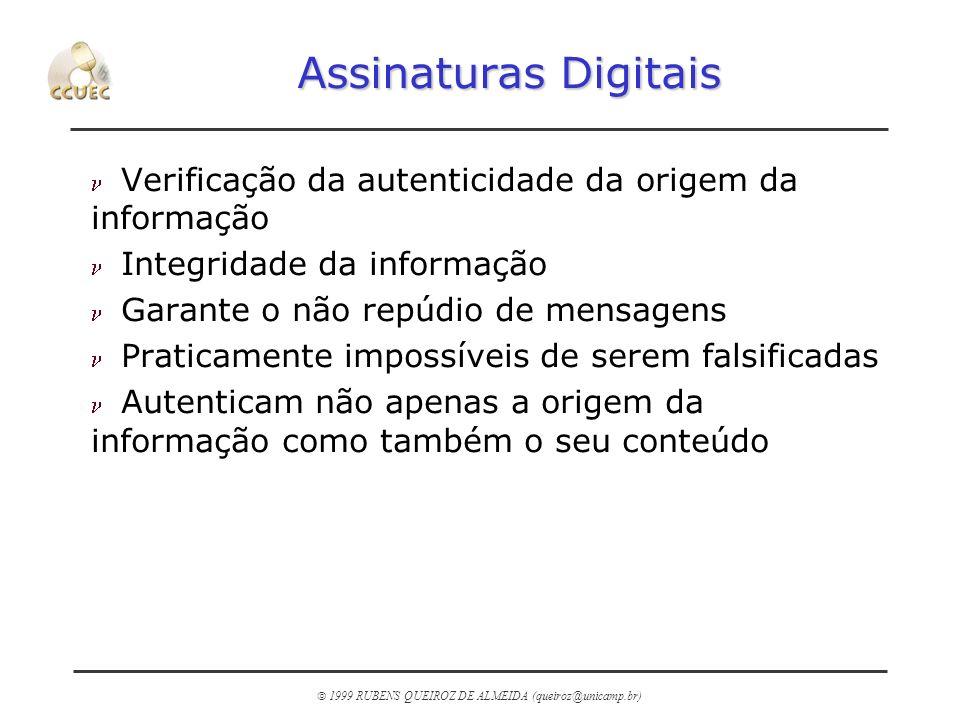 Assinaturas Digitais Verificação da autenticidade da origem da informação. Integridade da informação.