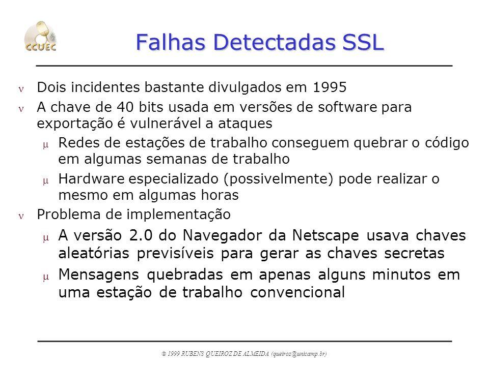 Falhas Detectadas SSL Dois incidentes bastante divulgados em 1995.