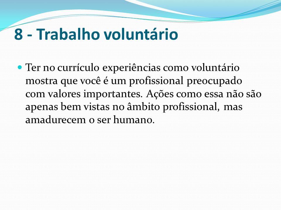 8 - Trabalho voluntário