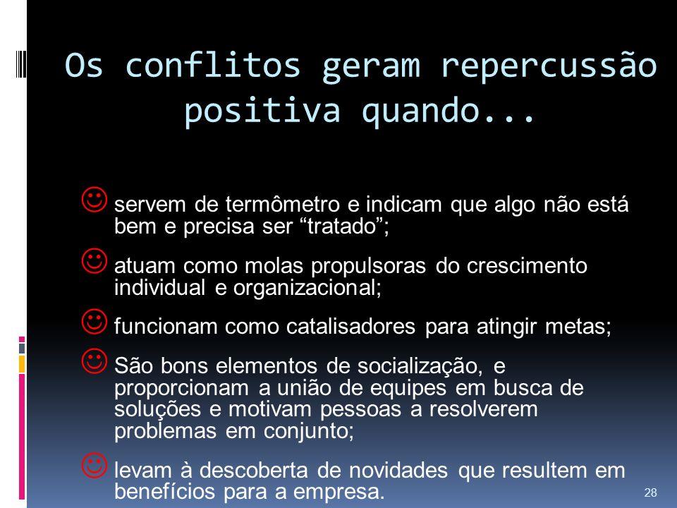 Os conflitos geram repercussão positiva quando...