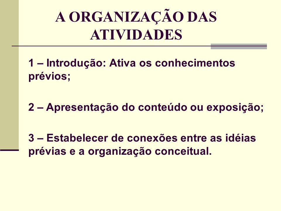 A ORGANIZAÇÃO DAS ATIVIDADES