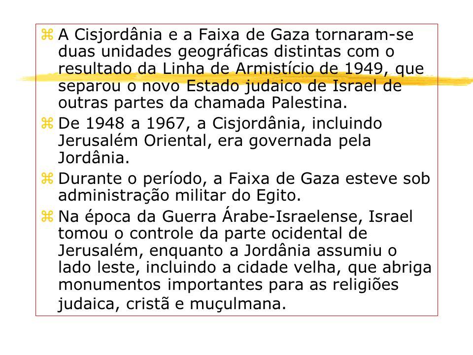 A Cisjordânia e a Faixa de Gaza tornaram-se duas unidades geográficas distintas com o resultado da Linha de Armistício de 1949, que separou o novo Estado judaico de Israel de outras partes da chamada Palestina.