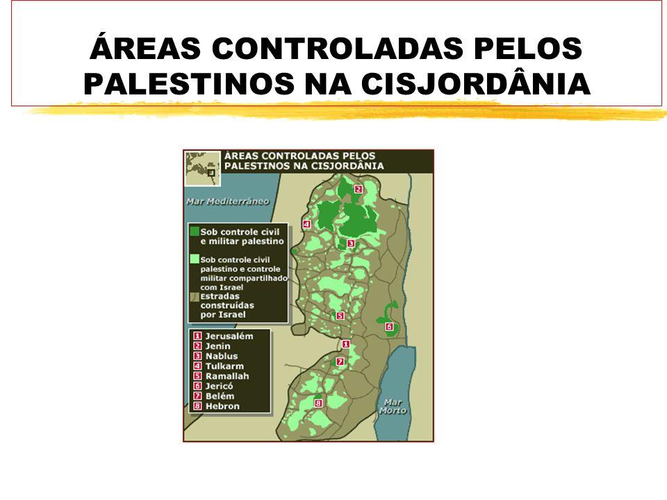 ÁREAS CONTROLADAS PELOS PALESTINOS NA CISJORDÂNIA