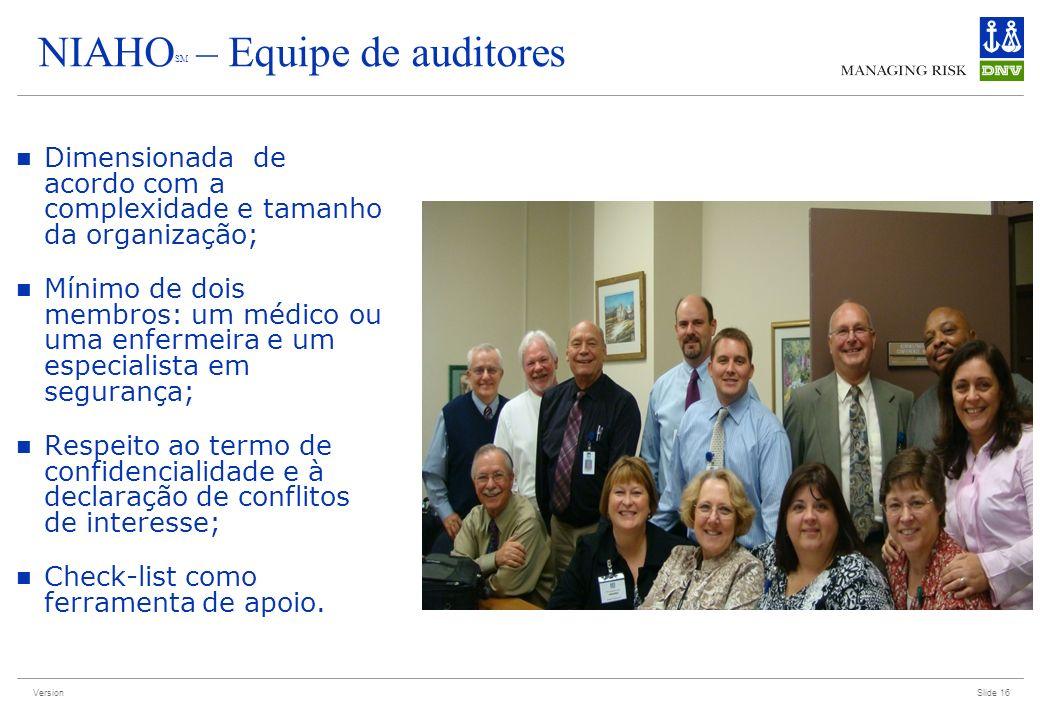 NIAHOSM – Equipe de auditores