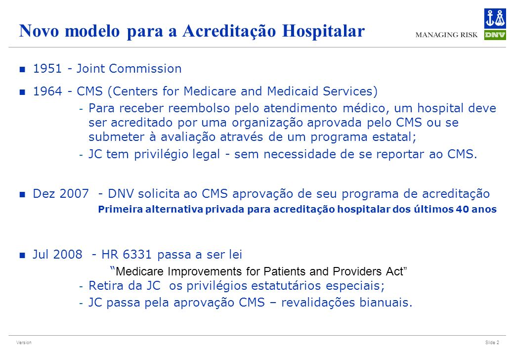 Novo modelo para a Acreditação Hospitalar
