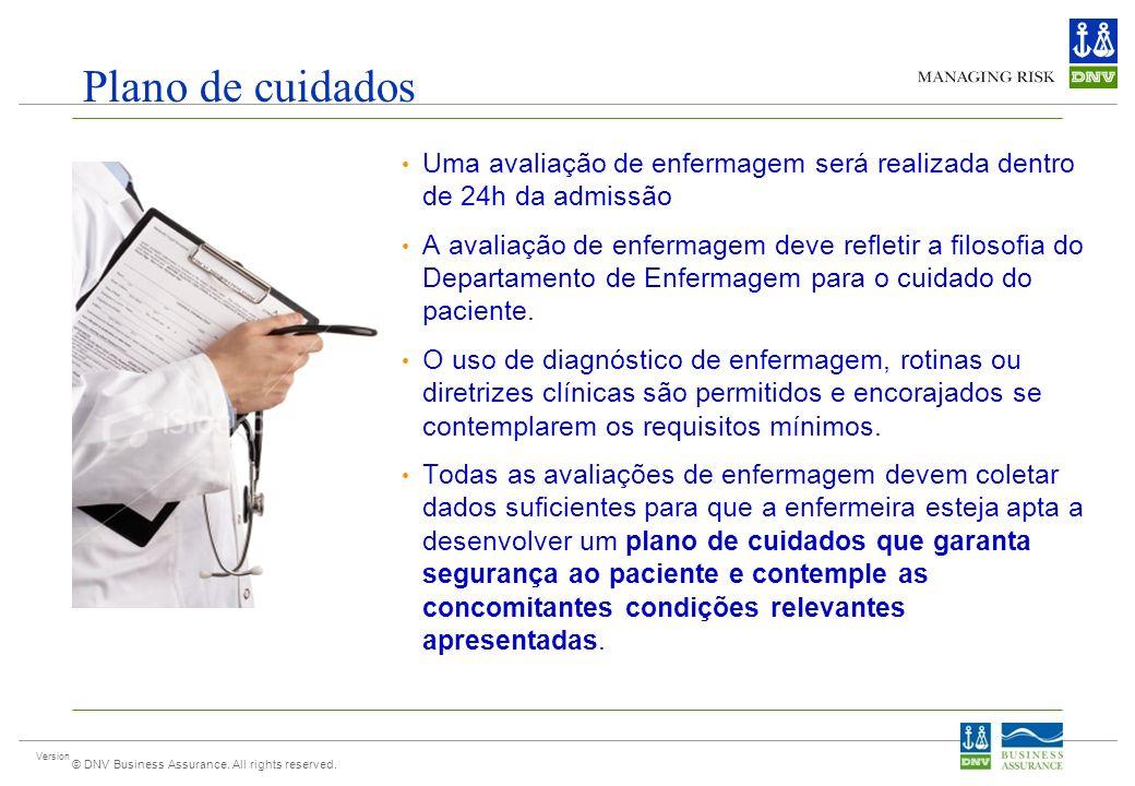 Plano de cuidados Uma avaliação de enfermagem será realizada dentro de 24h da admissão.