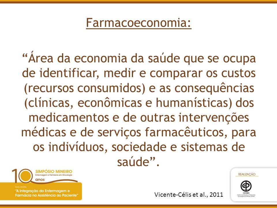 Farmacoeconomia: Área da economia da saúde que se ocupa de identificar, medir e comparar os custos (recursos consumidos) e as consequências (clínicas, econômicas e humanísticas) dos medicamentos e de outras intervenções médicas e de serviços farmacêuticos, para os indivíduos, sociedade e sistemas de saúde .