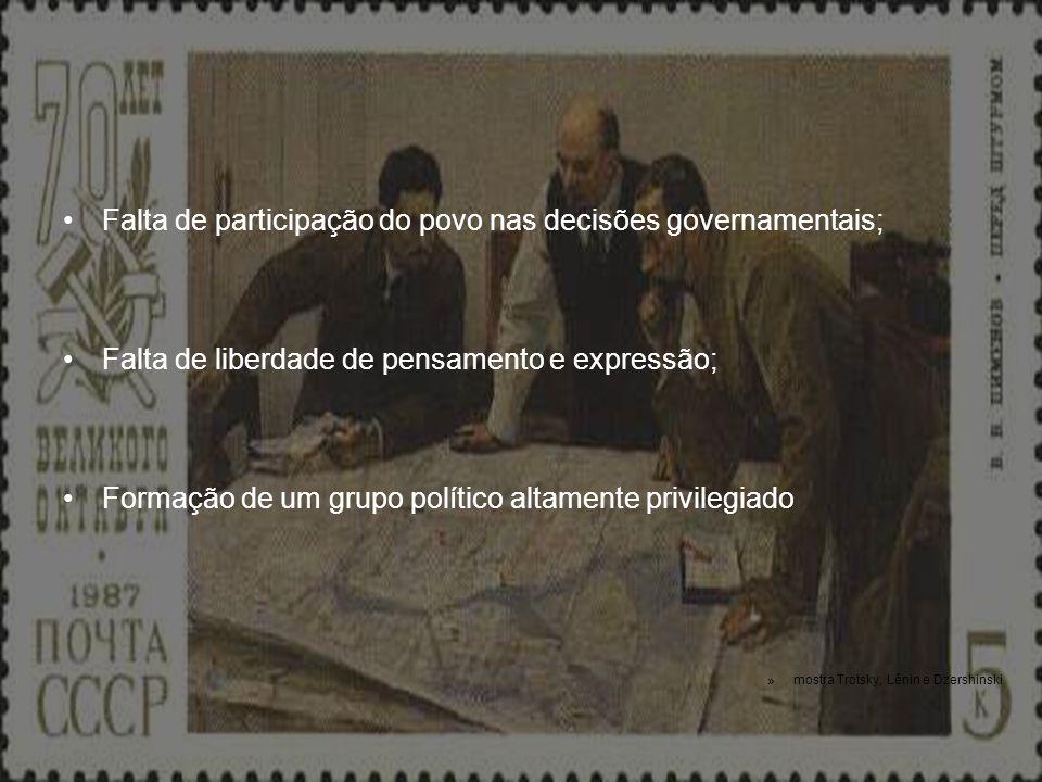 Falta de participação do povo nas decisões governamentais;