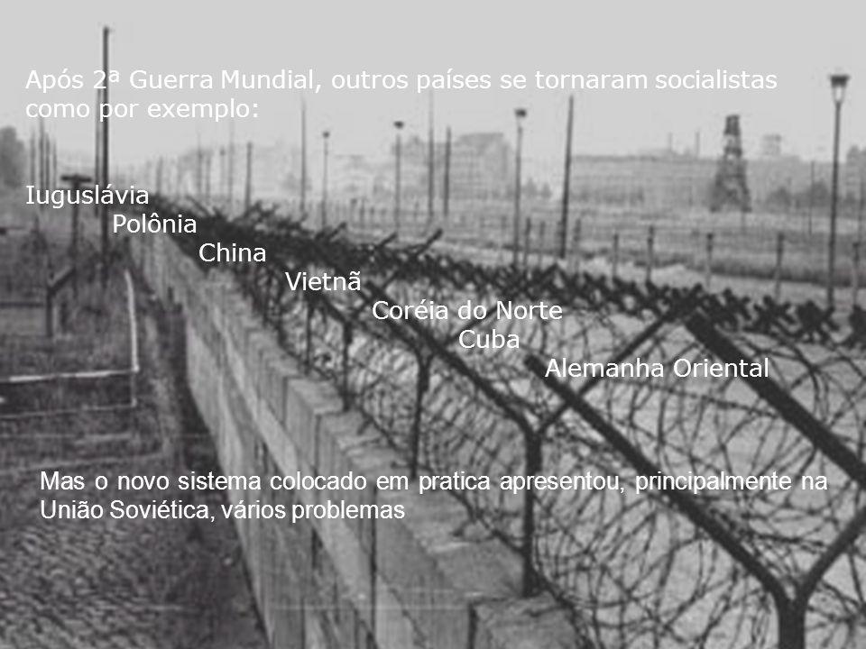 Após 2ª Guerra Mundial, outros países se tornaram socialistas como por exemplo: Iuguslávia Polônia China Vietnã Coréia do Norte Cuba Alemanha Oriental