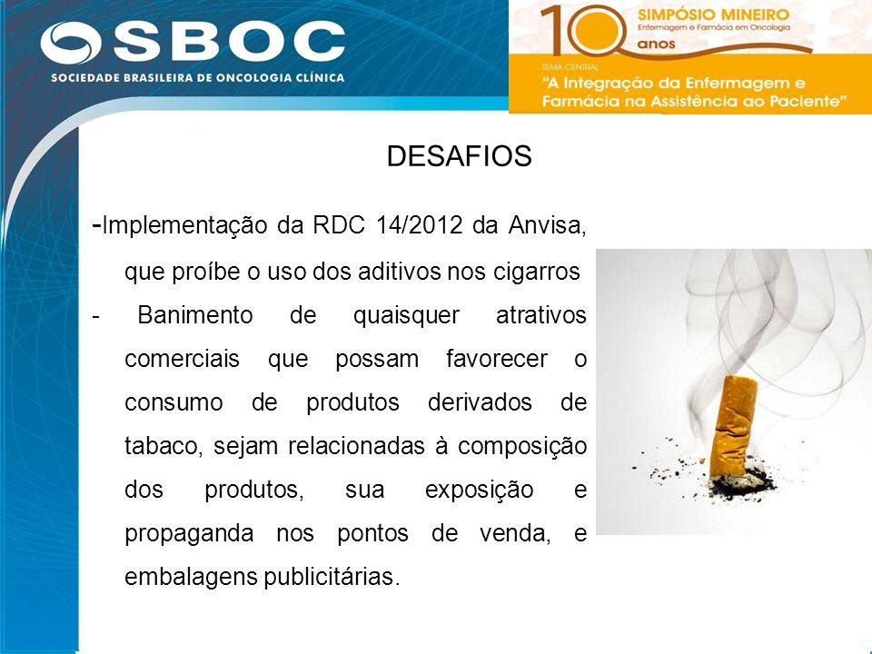DESAFIOS -Implementação da RDC 14/2012 da Anvisa, que proíbe o uso dos aditivos nos cigarros.