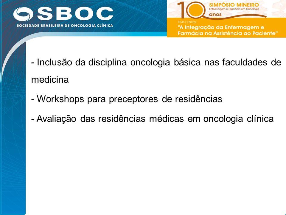 - Inclusão da disciplina oncologia básica nas faculdades de medicina