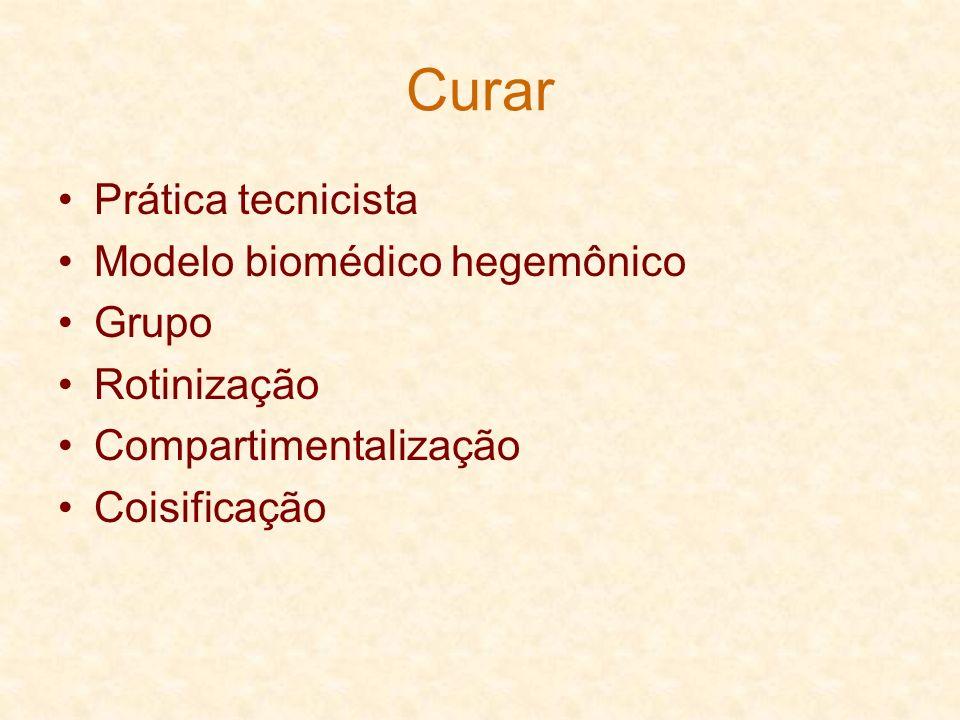 Curar Prática tecnicista Modelo biomédico hegemônico Grupo Rotinização