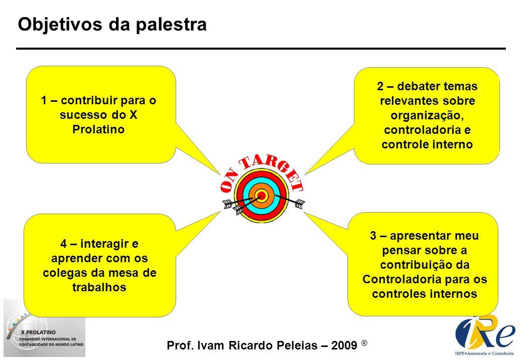 Objetivos da palestra2 – debater temas relevantes sobre organização, controladoria e controle interno.