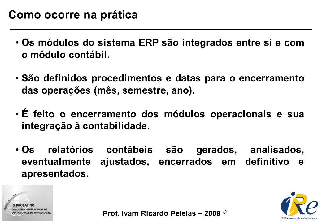 Como ocorre na prática Os módulos do sistema ERP são integrados entre si e com o módulo contábil.