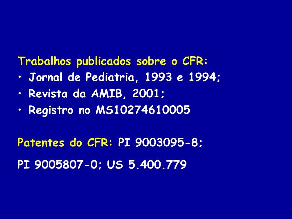Trabalhos publicados sobre o CFR: