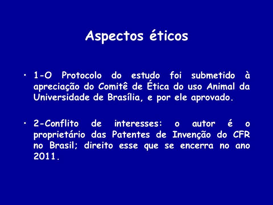 Aspectos éticos 1-O Protocolo do estudo foi submetido à apreciação do Comitê de Ética do uso Animal da Universidade de Brasília, e por ele aprovado.
