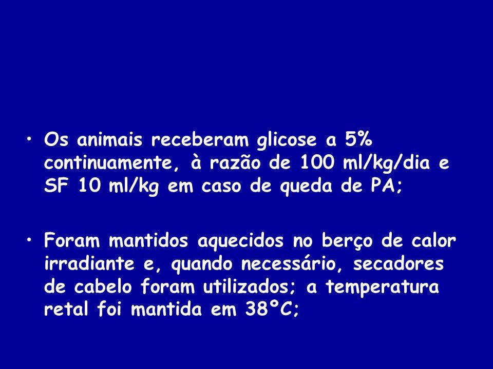 Os animais receberam glicose a 5% continuamente, à razão de 100 ml/kg/dia e SF 10 ml/kg em caso de queda de PA;