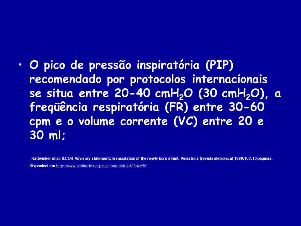 O pico de pressão inspiratória (PIP) recomendado por protocolos internacionais se situa entre 20-40 cmH2O (30 cmH2O), a freqüência respiratória (FR) entre 30-60 cpm e o volume corrente (VC) entre 20 e 30 ml;