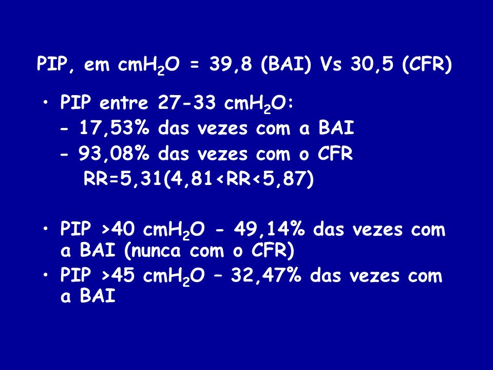 PIP, em cmH2O = 39,8 (BAI) Vs 30,5 (CFR)